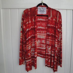 ONQUE CASUALS Tie-Dye Open Cardigan M Red